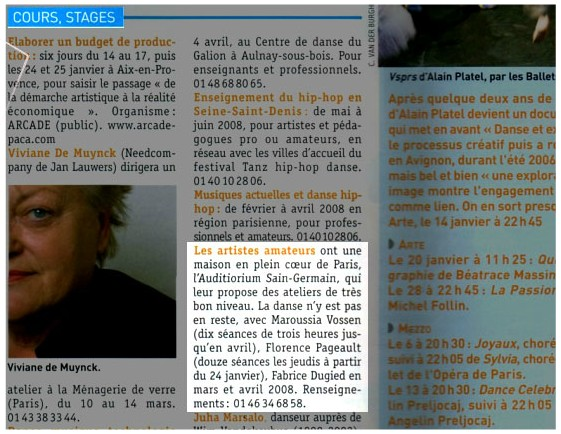 Article sur Danser Magazine
